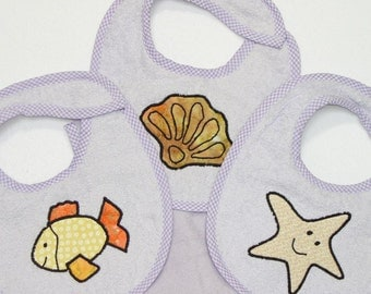Infant Baby Girl Bib Set - Starfish Goldfish Sea Shell- 3 Appliqued Terrycloth Infant Bibs and 1 Burp cloth for girls