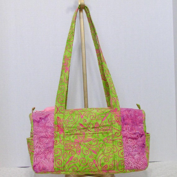 Fabric Handbag Satchel - Tangy Green w/ Pink Dragonflies Quilted Cotton Batik Satchel