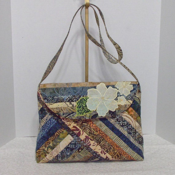 Fabric Handbag Batik - Karalee Shades of Brown Cotton Batik Quilted Purse II