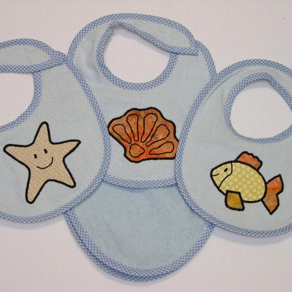 Infant Baby Boy Bib Set - Starfish Goldfish Seashell - 3 Appliqued Terrycloth Infant Bibs and 1 Burp cloth for boys