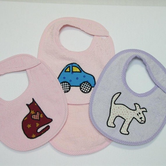Infant Baby Girl Bib Set - Blue Car Cat Dog - 3 Appliqued Terrycloth Infant Bibs and 1 Burp cloth for girls