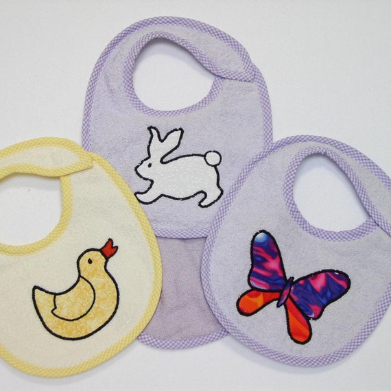 Infant Baby Bib Set - Hoppin' Along- 3 Appliqued Terrycloth Infant Bibs and 1 Burp cloth for girls
