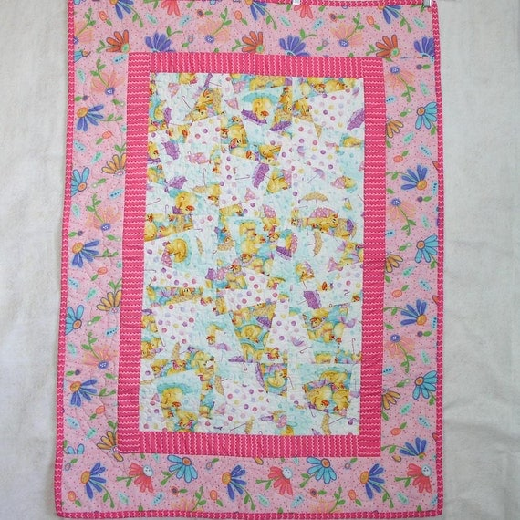 Girl Baby Quilt - Pink Rainy Day Parade Baby Quilt