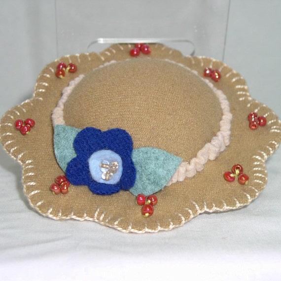 Hat Pin Cushion - Tan Wool Felt Handmade Hat Pin Cushion