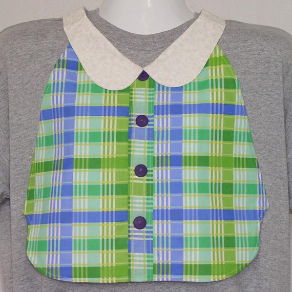 Womens Adult Bib / Special Needs Green and Lavender Plaid Shirt Front Bib