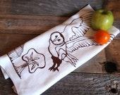 Screen Printed Kitchen tea Towel - Barn Owl -  Flour Sack - Brown On White - Gift Under 25 USD