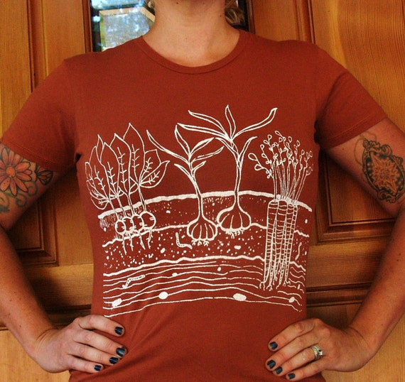 Womens T Shirt - EXTRA LARGE -  Vegetable Garden  - Rust Orange
