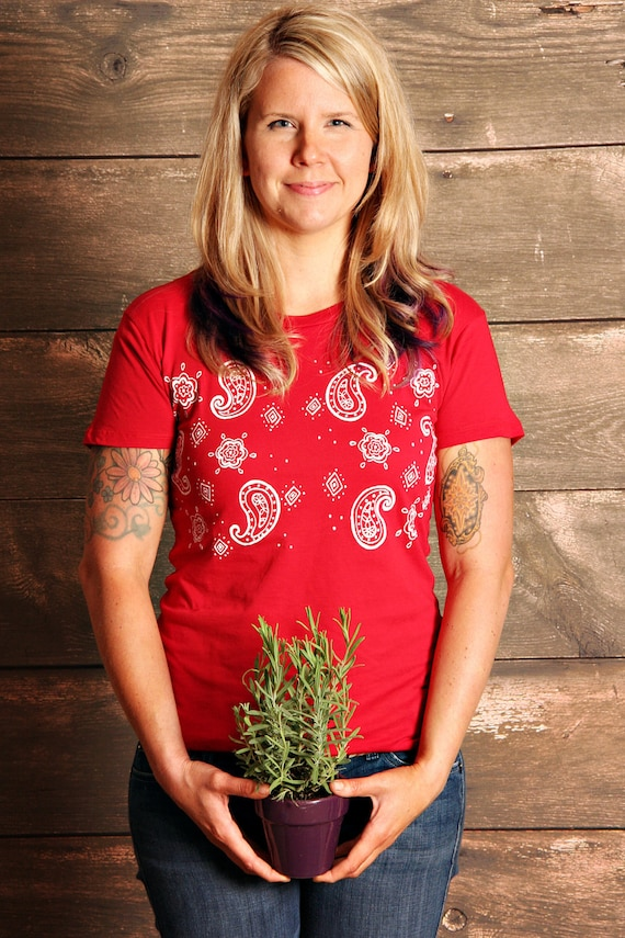Red Bandana Print -  Womens T- Shirt - MEDIUM - Hand Screen Printed
