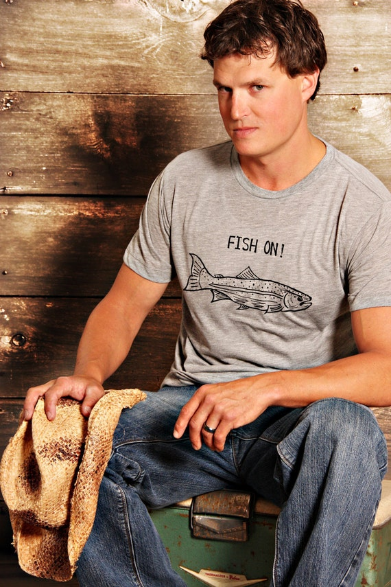 Fish On - Mens T Shirt - EXTRA LARGE -  For The Fishing Camping Outdoorsy Guy - Hand Screen Printed