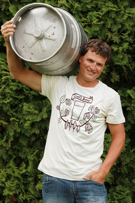 Craft Brew Mens T Shirt - MEDIUM -  For The Home Brew Micro Brew Lover - Hand Screen Printed