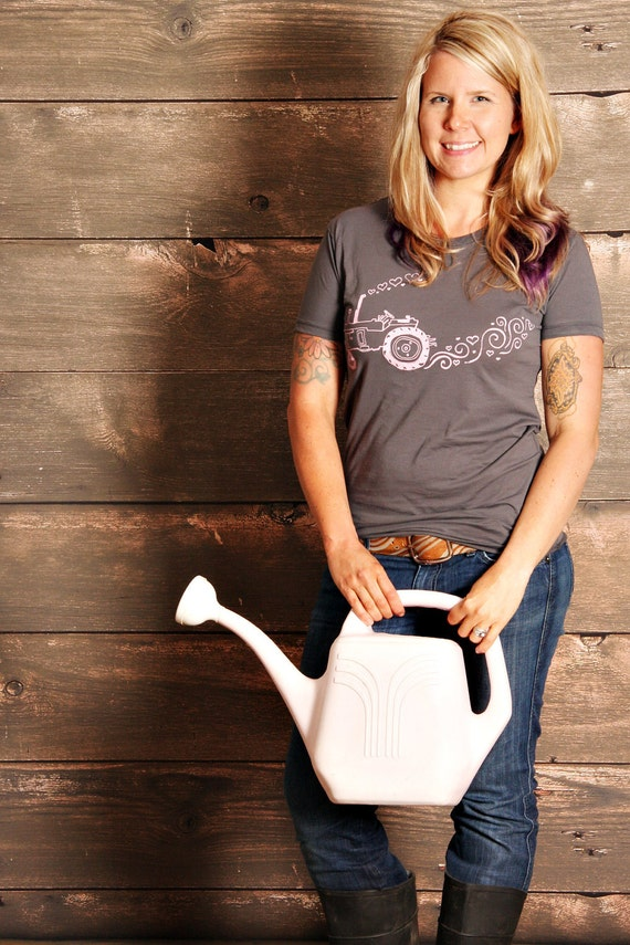 Tractor Love Womens T-Shirt - Asphalt Grey With Light Pink Print - Hand Screen Printed