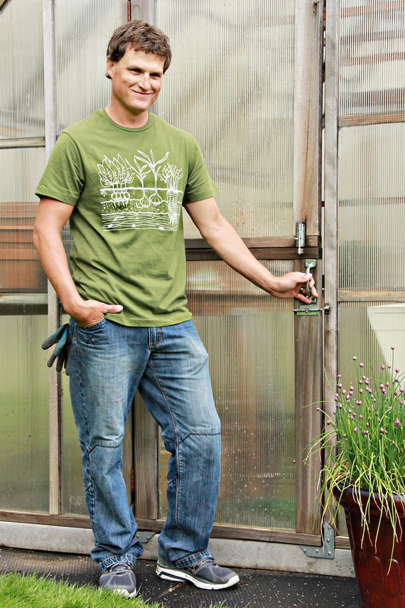 Vegetable Garden Mens T Shirt - MEDIUM - Army Green