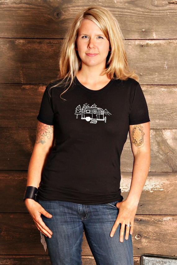 Vintage Camper Womens T Shirt - MEDIUM - Metallic Silver Print On Black