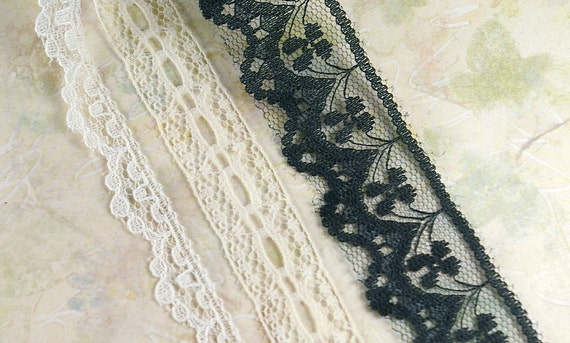 9 yards of Flat Lace Trim in 3 colors