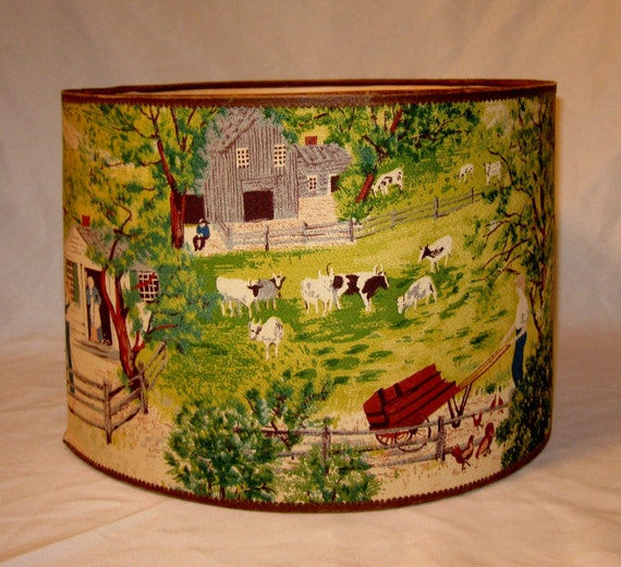"Vintage Grandma Moses ""At The Well"" Bark Cloth Drum Shade1950s"