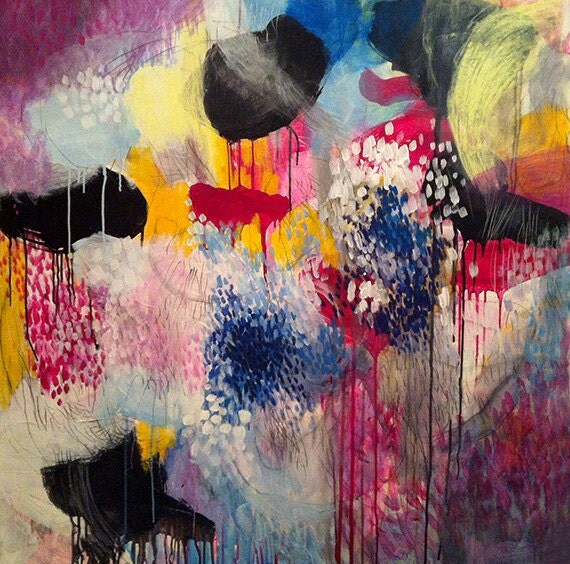 Jellyfishes at the disco - Original abstract painting, canvas, acrylic, large, 40x40