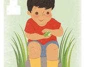 Frog Art Print. 5x7 Letter Print for Boys.