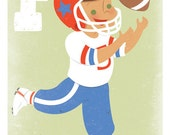 American Football Art Print. 5x7 Letter Print for Boys.