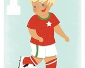 F is for Football Boys Art Print. 5x7 Letter Print for Boys.