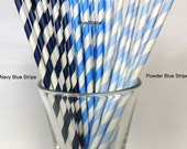 25 Navy Blue & White Stripe Paper Straws with PDF Flags