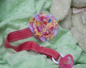 Fabric Flower Pacifier Clip with Pink Ribbon