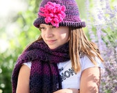 Flowered cloche and scarf set
