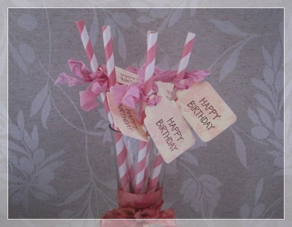 Birthday Party Paper Straws - Set of 8