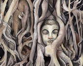 Buddha & Banyan Tree | 'Ayutthaya' | Watercolor | Archival Print