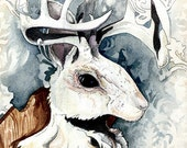 Jackalope | 'Wintery Jackalope' | Watercolor | Archival Print