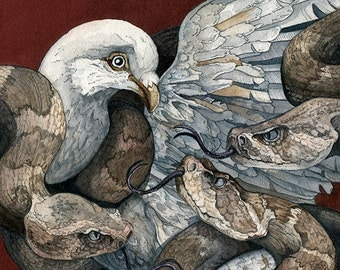 Dove w/ Rattlesnakes | 'No Safe Place' | Watercolor | Archival Print
