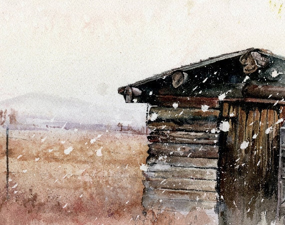 Wyoming Log Cabin | 'The Little Place' | Watercolor | Archival Print