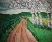 "Original Water Color Painting ""White Birch Lane"""