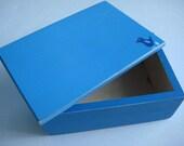 Personalized Blue Bird Box - Upcycled Handpainted Folk Art Box