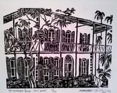 "Hemingway House Linocut Print - 6x8"""
