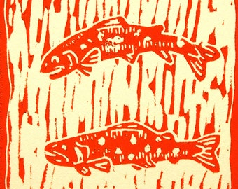 "Trout artwork "" Three Trout"" linocut by Jonathan Marquardt"