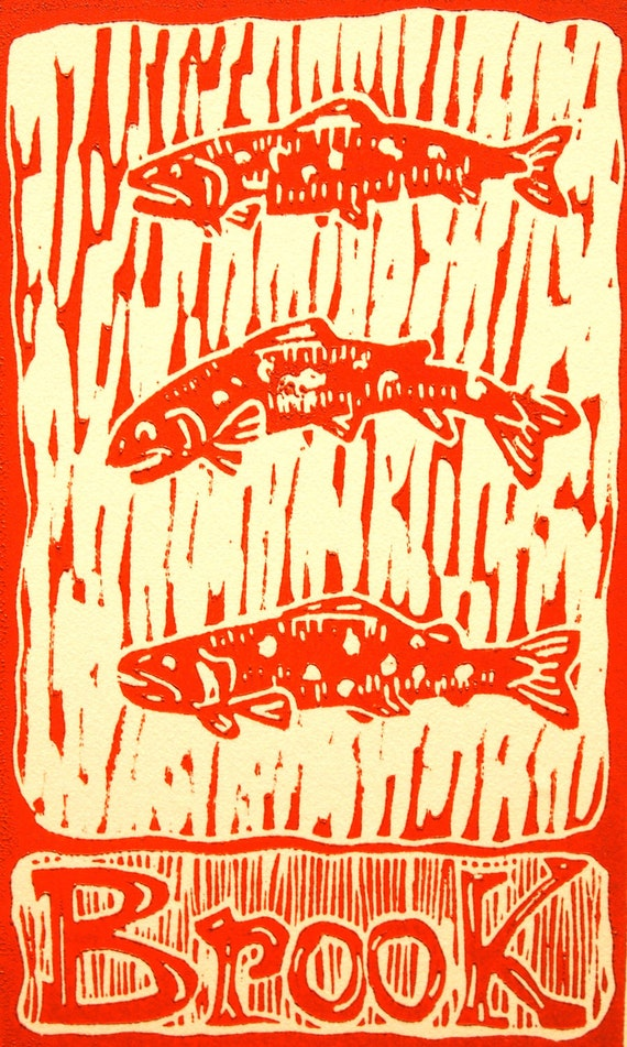 """Trout artwork """" Three Trout"""" linocut by Jonathan Marquardt"""