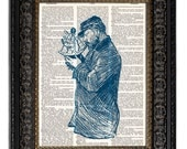 SEA CAPTAIN in Nautical BLUE Vintage Dictionary Art Nautical Art Print on upcycled vintage dictionary page 8x10