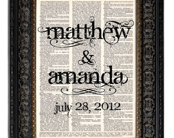Custom Wedding Gift  BRIDE & GROOM Names with Wedding Date Wedding Sign art print on Vintage Dictionary Page 8x10 Book Page Print