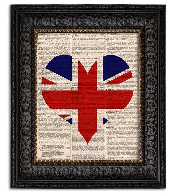 Items similar to union jack flag art print heart shaped for Decoration murale union jack