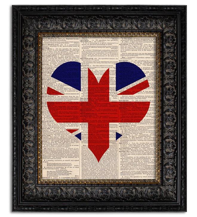 Items similar to UNION JACK FLAG Art Print, Heart Shaped ...