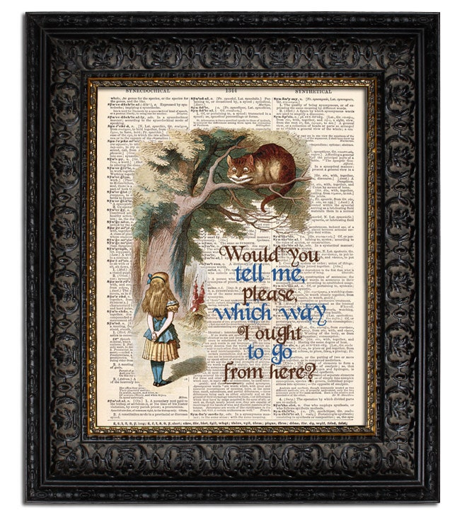 Alice In Wonderland Book Quotes: Items Similar To Alice In Wonderland CHESHIRE CAT & BOOK