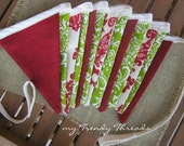 Red Green White Damask Christmas Fabric Banner Bunting