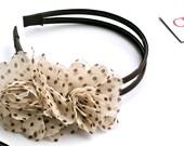 Chocolate Brown Polka Dot Flower Luxe Headband