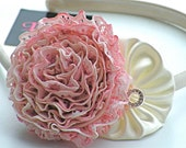 Coral Hand Dyed Lace Flower & Satin Cream YoYo Flower Headband Creatively Designed By Lissopa Children to Adult Sizes Super Cute Hand Made