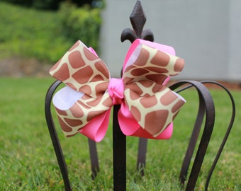 Hairbow - Giraffe and Pink Bow - Boutique Bow - Big Bow