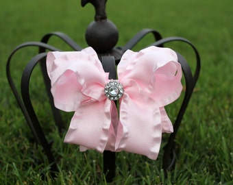 Light Pink Double Ruffle Boutique Bow