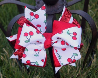 Cherry Hair bow - Red Hairbow - Summer Bow