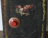 HALLOWEEN SALE Vintage Mosler Bank Rusty Chippy Rustic Toy Vault Bank