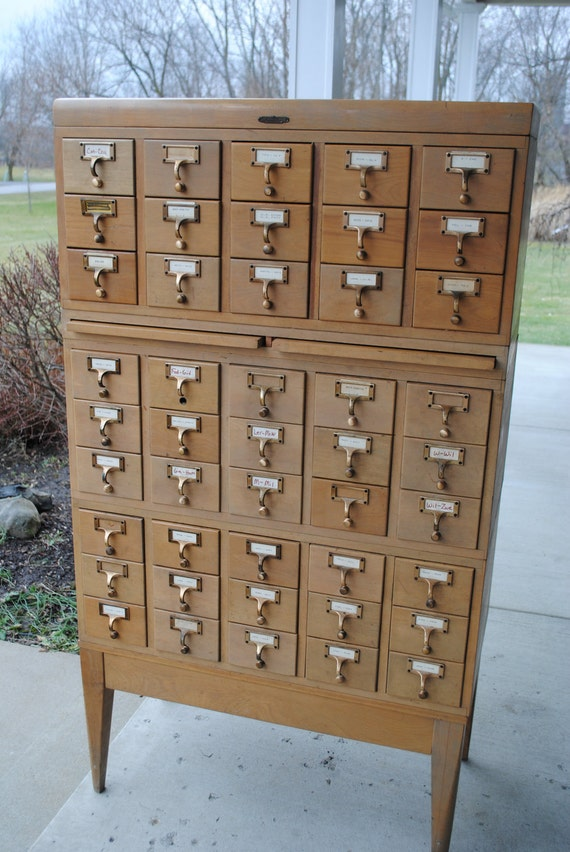 Vintage Library Card Catalog by Remington Rand