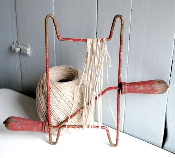 Reserved for D Sale Vintage Red Chippy Rope Winder